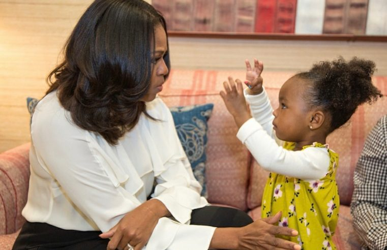 Michelle Obama meets Parker, the 2-year-old captivated by her portrait