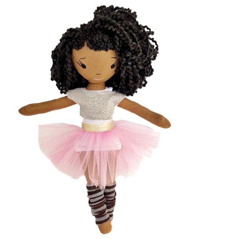 Handmade black ballerina doll with pink tutu