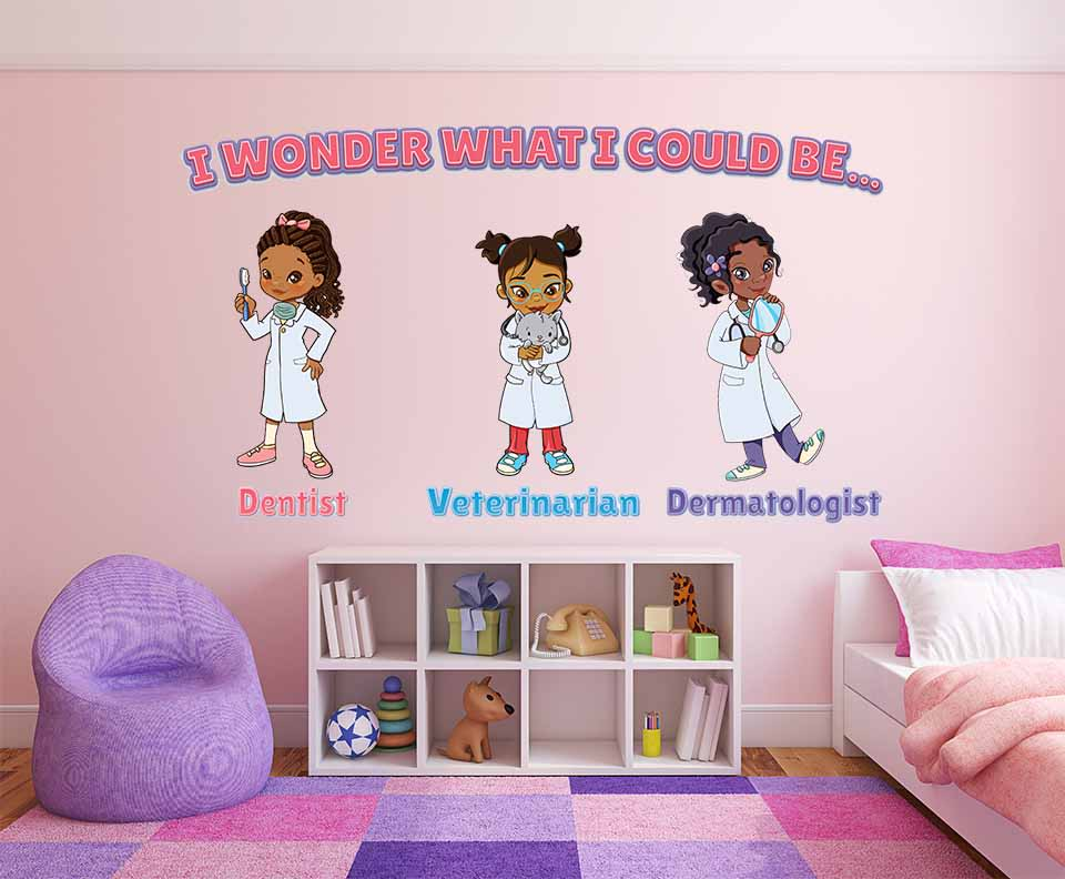 Trio of wall decals in Black characters as a variety of medical professionals displayed on pink wall in child's bedroom.