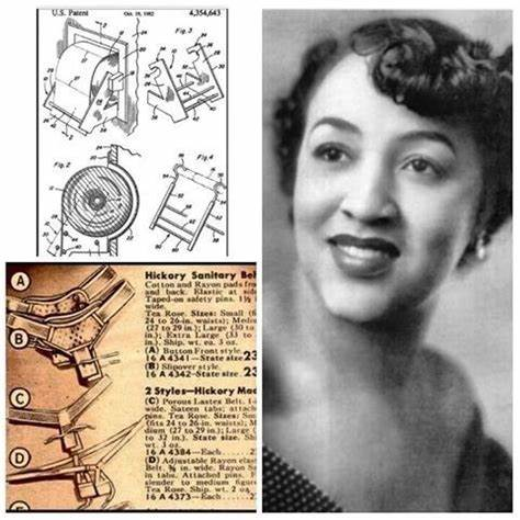 Photo grid of a black and white photo of light skinned Black woman with an updo on one side and images from her sanitary belt invention on the other side.