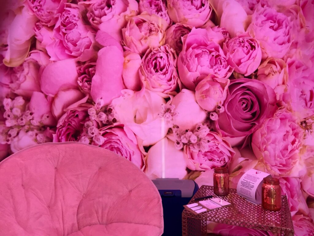 Pretty pink roses inside a MilkSpace pop-up lacation space